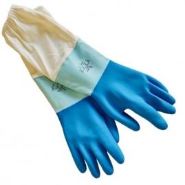 Guante Latex Azul Bicolor